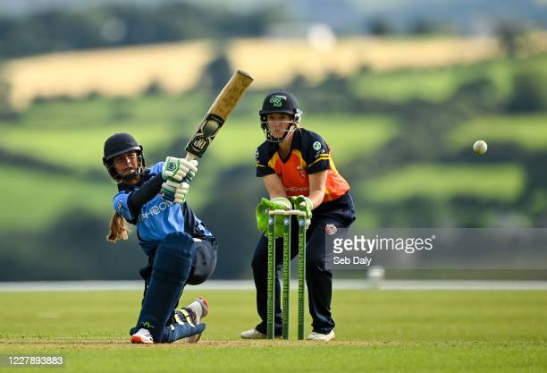Wicklow Ireland 3 August 2020 Amy Hunter of Typhoons plays a shot to score boundary to secure victory for her side during the Women's Super Series...