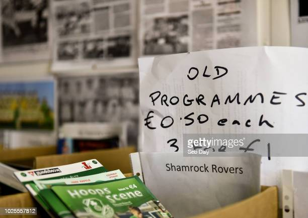 Wicklow Ireland 31 August 2018 A view of old match day programs for sale prior to the SSE Airtricity League Premier Division match between Bray...