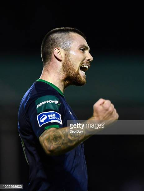 Wicklow Ireland 31 August 2018 Brandon Miele of Shamrock Rovers celebrates after scoring his side's third goal during the SSE Airtricity League...