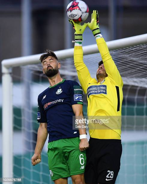 Wicklow Ireland 31 August 2018 Evan Moran of Bray Wanderers in action against Greg Bolger of Shamrock Rovers during the SSE Airtricity League Premier...