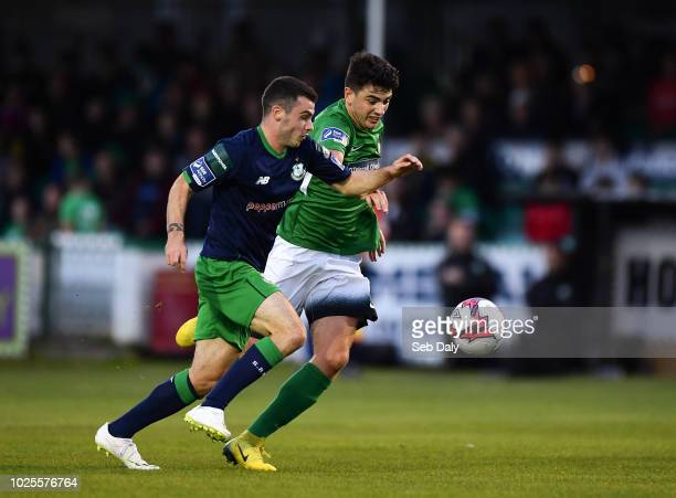 Wicklow Ireland 31 August 2018 Joel Coustrain of Shamrock Rovers in action against Darragh Noone of Bray Wanderers during the SSE Airtricity League...