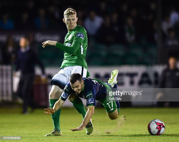 Wicklow Ireland 31 August 2018 Joel Coustrain of Shamrock Rovers in action against Kevin Lynch of Bray Wanderers during the SSE Airtricity League...