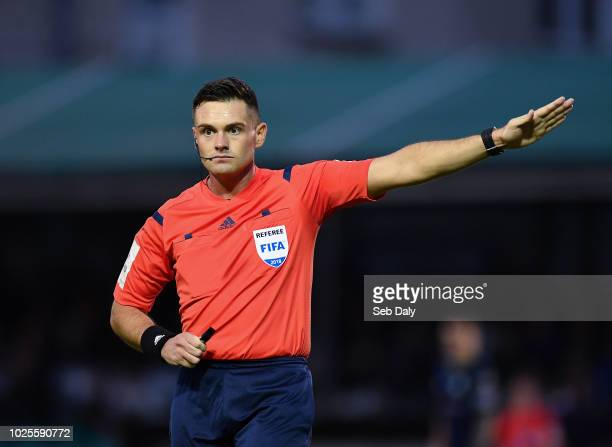 Wicklow Ireland 31 August 2018 Referee Robert Hennessy during the SSE Airtricity League Premier Division match between Bray Wanderers and Shamrock...