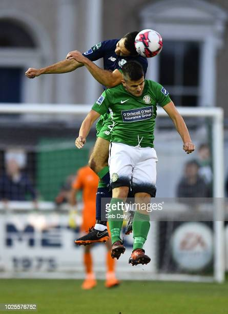 Wicklow Ireland 31 August 2018 Roberto Lopes of Shamrock Rovers in action against Jake Kelly of Bray Wanderers during the SSE Airtricity League...