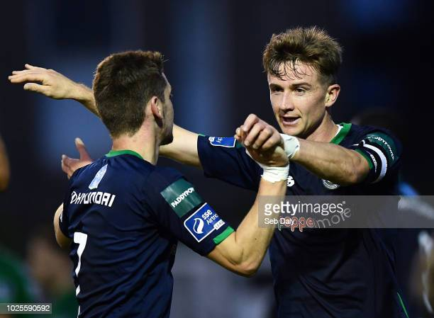 Wicklow Ireland 31 August 2018 Ronan Finn of Shamrock Rovers right is congratulated by teammate Dylan Watts after scoiring his side's first goal...