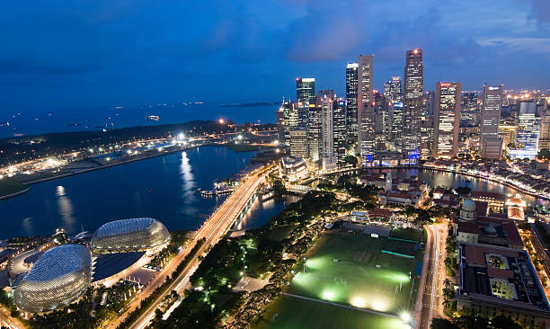 Wide Aerial View Of Singapore Skyline At Dusk Wall Art