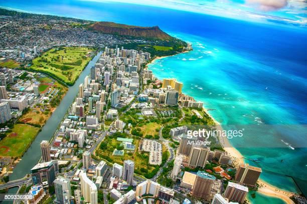 Vidvinkel-antenn av Honolulu Hawaii