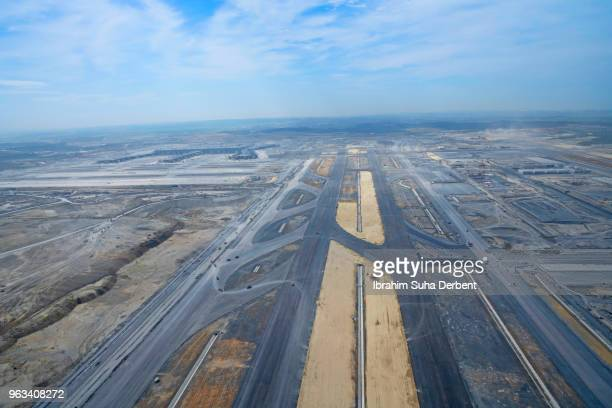 Wide angle aerial photo of the landing field of third airport in Istanbul.