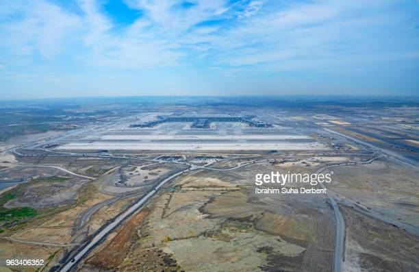 Wide angle aerial view of 3rd airport in Istanbul