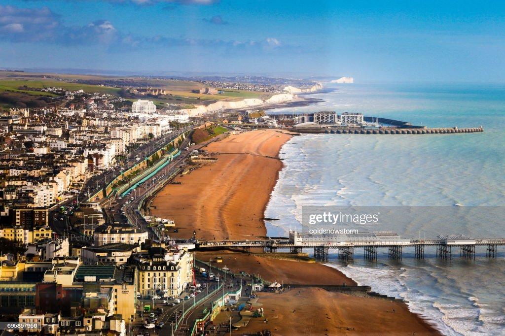 Wide angle aerial view of Brighton beach and coastline, Brighton, UK : Stock Photo