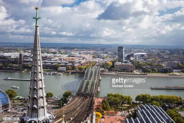 wide angle aerial view of cologne and rhine river - cologne stock pictures, royalty-free photos & images