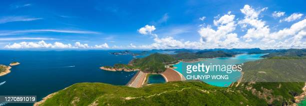 wide angle aerial view of high island reservoir, far south eastern part of sai kung peninsula, hong kong - china east asia stock pictures, royalty-free photos & images