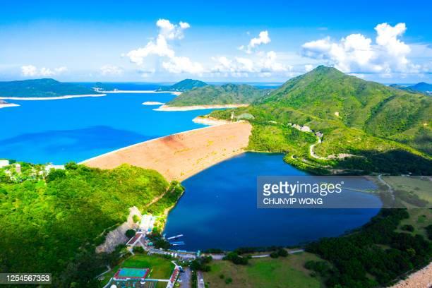 高い島の貯水池の広角空中写真、西ダム西ダム、西クン半島、香港、屋外、昼間 - ジオパーク ストックフォトと画像