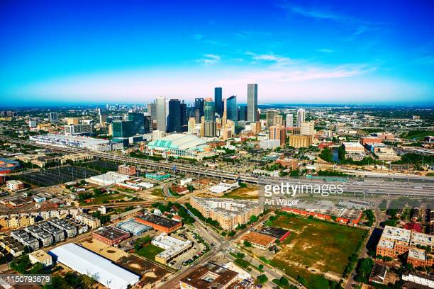 wide angle aerial view of houston, texas - houston stock pictures, royalty-free photos & images