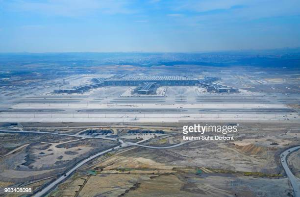 Wide angle aerial view of new airport in Istanbul