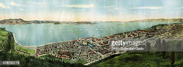 Wide angle bird's eye view of San Francisco San Francisco bay the Marin Headlands Palace of Fine Arts and Panama Pacific International Exposition...