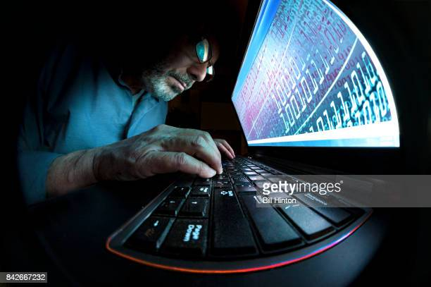 Wide angle computer coder hacker