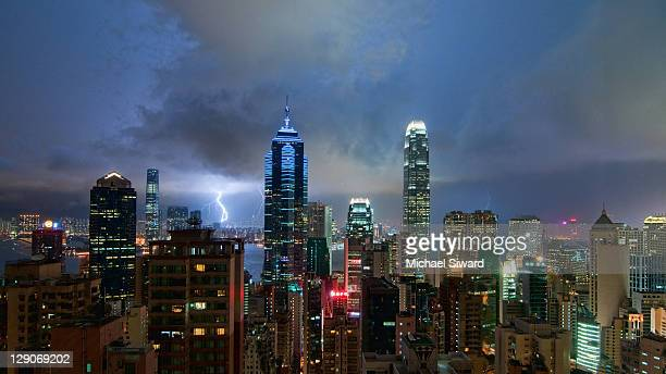 wide angle hong kong skyline - michael siward stock pictures, royalty-free photos & images