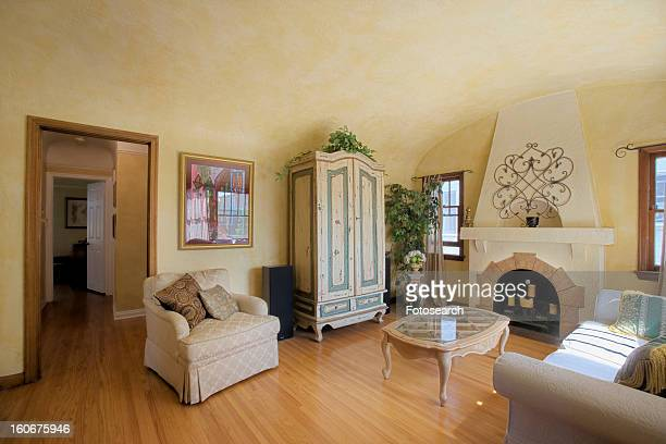 wide angle image of living room - wide stock pictures, royalty-free photos & images