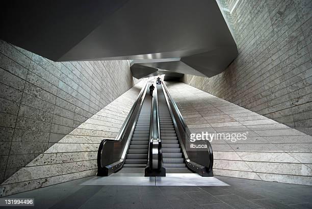 Wide angle modern architecture escalator
