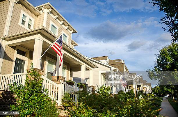 Wide Angle of a Front Porch with an American Flag