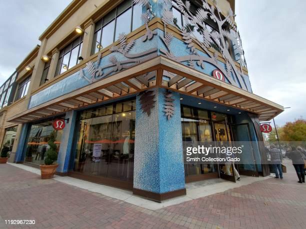 Wide angle of facade of Lululemon athletic wear store in Walnut Creek, California, December 6, 2019.