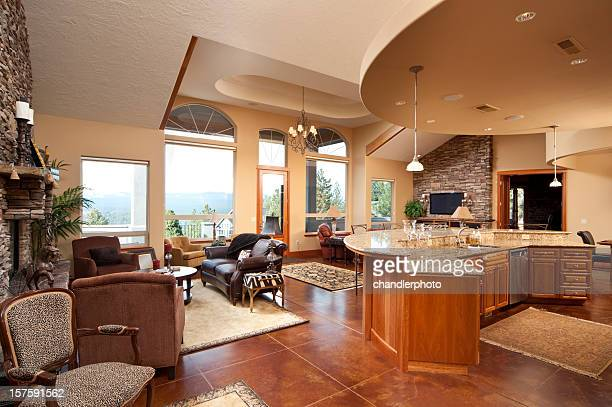 Wide angle of modern living room and kitchen
