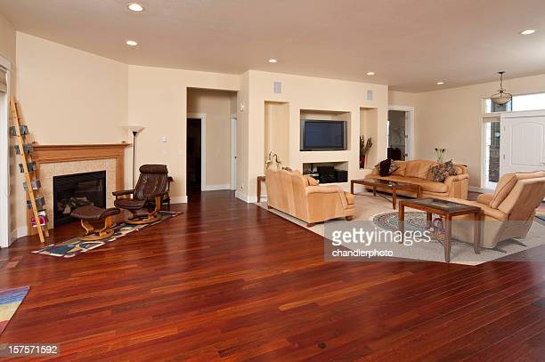 wide angle of modern living room - recessed lighting stock pictures, royalty-free photos & images
