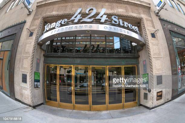 Wide angle of the entrance of an old building in the 424 Yonge Street in the downtown district The street is among the longest in the world