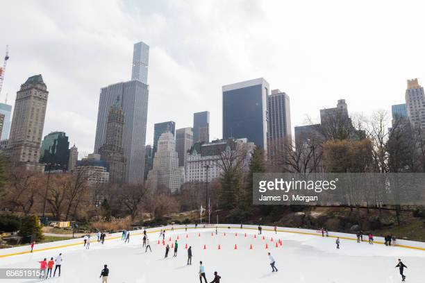 Wide angle of the Trump ice rink in Central Park in New York City on Feb 28th 2017.