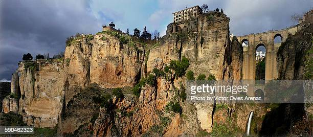 wide angle pano of ronda, malaga, spain. - cádiz stock pictures, royalty-free photos & images