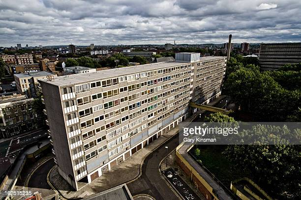 Wide angle shot looking down at a block on the abandoned Heygate Estate in Elephant & Castle, South London, 2009