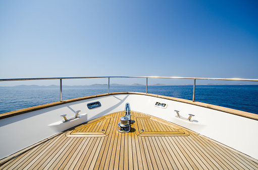 Wide angle shot of front of the yacht 543659548