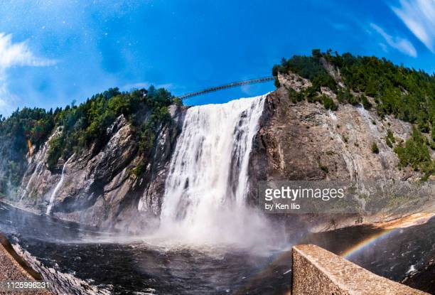 wide angle shot of montmorency falls - ken ilio stock photos and pictures