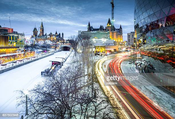 Wide angle shot of Rideau Canal and Parliament building during blue hour