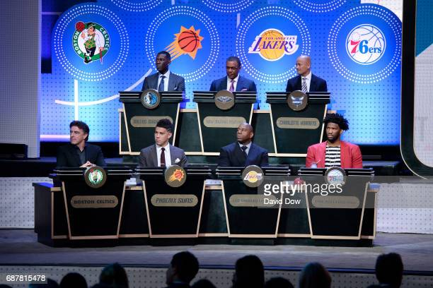 A wide angle shot of the pannel during the 2017 NBA Draft Lottery at the New York Hilton in New York New York NOTE TO USER User expressly...