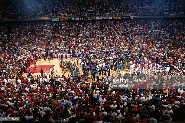 A wide angle shot the court after the Houston Rockets beat the New York Knicks during Game Seven of the NBA Finals on June 22 1994 at The Summit in...