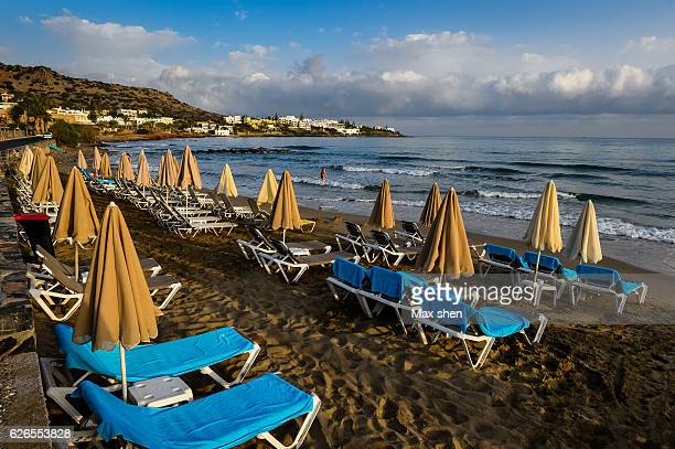 Wide angle view at the Heraklion beach in Crete island