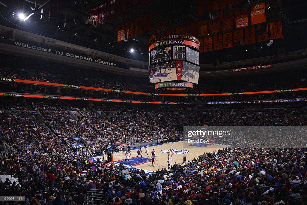 A wide angle view at the Wells Fargo Center during the Los Angeles Lakers game against the Philadelphia 76ers on December 1, 2015 in Philadelphia, Pennsylvania.