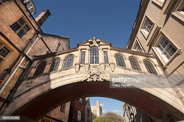 Wide angle view looking up at Hertford Bridge more commonly known as the 'Bridge of Sighs.' It was designed by Sir Thomas Jackson and opened in 1914,...