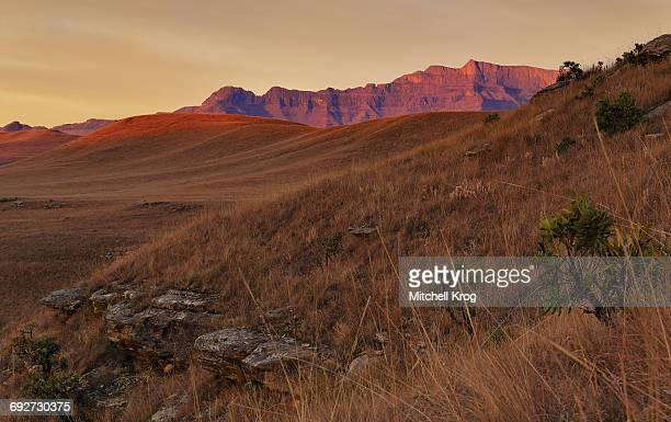 Wide Angle View of a Dramatic Sunrise over the Valley of Giants Castle in the Drakensberg Mountains of South Africa