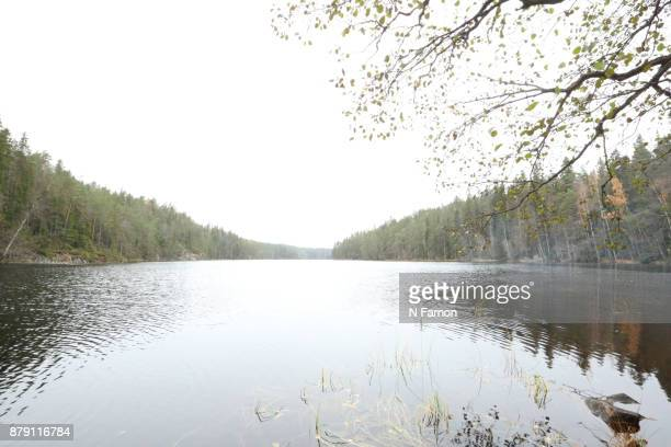 Wide angle view of a lake in Finland