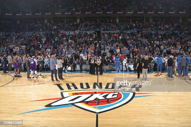 Wide angle view of Chesapeake Energy Arena before the Utah Jazz game against the Oklahoma City Thunder on February 21, 2020 in Oklahoma City,...