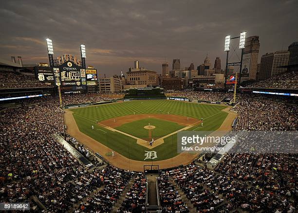 Wide angle view of Comerica Park at night during the game between the Detroit Tigers and the Cleveland Indians at on July 10 2009 in Detroit Michigan...