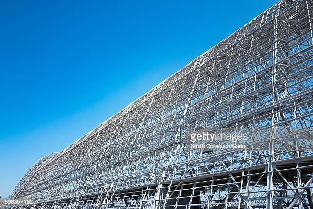 Wide angle view of Hangar One within the secure area of the NASA Ames Research Center campus in the Silicon Valley town of Mountain View California...