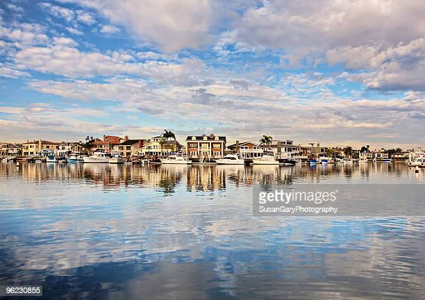 wide angle view of  huntington harbor - huntington beach stock pictures, royalty-free photos & images