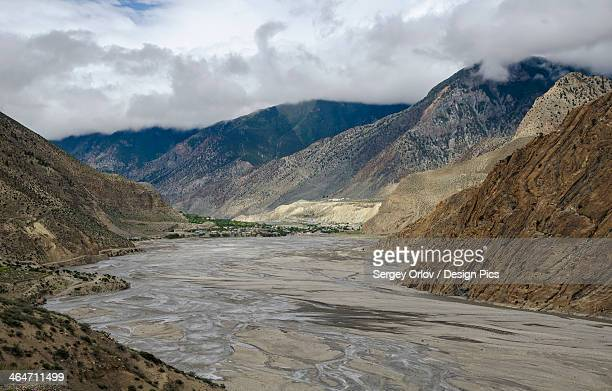 Wide angle view of kali gandaki riverbed and jomsom town