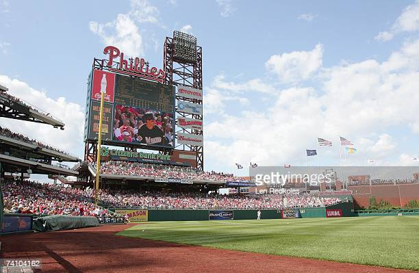 Wide angle view of left field at Citizens Bank Park in a game between the Philadelphia Phillies and the Florida Marlins on April 29, 2007 at Citizens...
