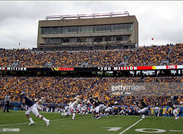 A wide angle view of Mountaineer Field during the game between the West Virginia Mountaineers and the Baylor Bears on October 18 2014 at Mountaineer...
