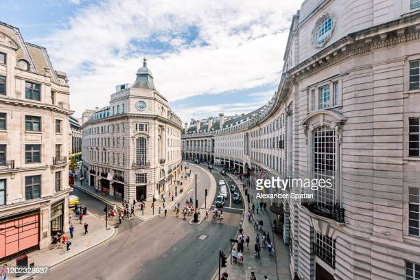 wide angle view of regent street seen from above, london, uk - central london stock pictures, royalty-free photos & images